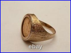 Fab Mens Solid 9ct Gold 22k 1/10th Krugerrand Coin Ring Size S 19.15mm 8.3 Grams