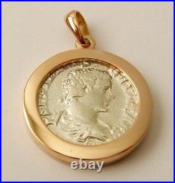 GENUINE SOLID 9K 9ct ROSE Gold FRAME ANCIENT SOLID SILVER ROMAN COIN Pendant