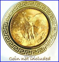 GOLD Bezel 50 pesos pendant 14k Santanari centenario coin frame SOLID mexico oro