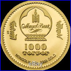 GOLD COIN YEAR OF THE OX 9999 GOLDMÜNZE 2020 MONGOLEI 1000 TOGROG with BOX / COA