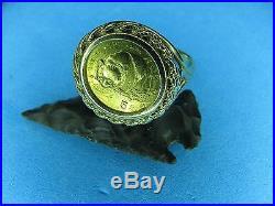Gold Panda Coin Ring 1987 5 Yuan 24 Karat Coin Mounted on 14K solid gold Ring