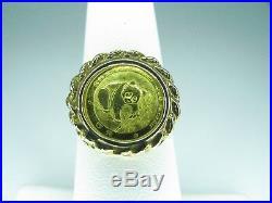 Gold Panda Coin Ring 1988 5 Yuan 24 Karat Coin Mounted on 14K solid gold Ring