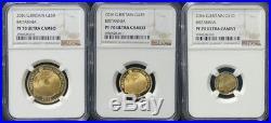Great Britain UK 2016 Britannia 3 Coin £50 £25 £10 Gold Proof Set NGC 70