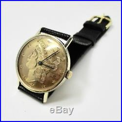 Hamilton Solid 14k Gold Coin Watch Manual Wind movement Mens
