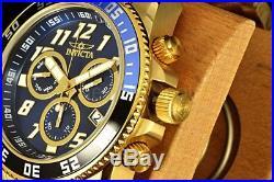 Invicta 50MM Pro Diver 23k GP Swiss Ronda Coin Edge Bezel Blue Dial SS Band Watc