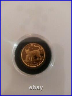 Isle of Man 2002 Bengal Cat & Kitten 1/10 oz Solid 999 Gold Coin