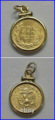 J990 Vintage 1945 DOS Pesos Mexico Gold Coin in 14k Solid Yellow Gold Bezel
