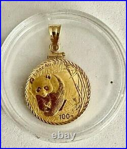Look 2001-1/4 Oz. 999 Fine Gold Panda Coin In Solid 14k Yellow Gold Bezel