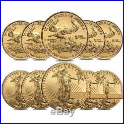 Lot of 10 1/10 oz Gold American Eagle $5 Coin BU (Random Year)
