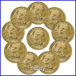 Lot of 10 2018 1/10 oz Gold American Eagle $5 GEM BU Coin SKU50856