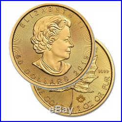 Lot of 10 Gold 2019 Maple 1 oz Canadian Gold Maple Leaf $50.9999 Fine coins