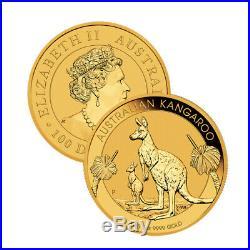 Lot of 2 Gold 2020 Australian Gold 1oz Kangaroo $100.9999 Fine BU Coins