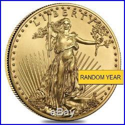 Lot of 5 1/2 oz Gold American Eagle $25 Coin BU (Random Year)