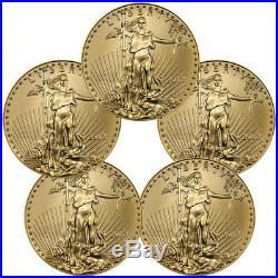 Lot of 5 2018 1/10 oz Gold American Eagle $5 GEM BU Coin SKU50855