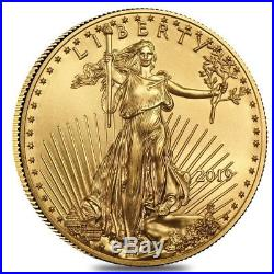 Lot of 5 2019 1/10 oz Gold American Eagle $5 Coin BU