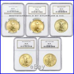 Lot of 5 $50 Eagle NGC MS70 US Gold coins Gem 1oz 22kt US bullion Random Year