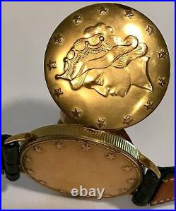 Louvic 17 Jewels Inside of a Liberty Head 20 Micron Gold Filled Coin Mens Watch