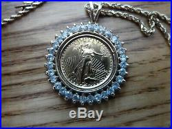 Lovely 14K &18K 20 Chain with SOLID Gold $5 Coin Necklace Surrounded by Diamonds