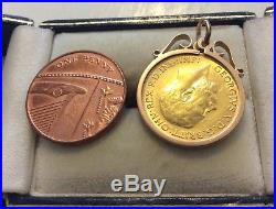 Lovely Antique 1914 Solid 22 Carat Gold Half Sovereign Coin Pendant 22CT Coin