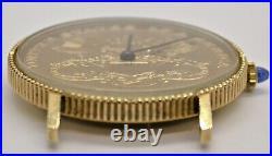 Lucien Piccard 18k Solid Gold Quartz $20 Gold Coin Mans Watch