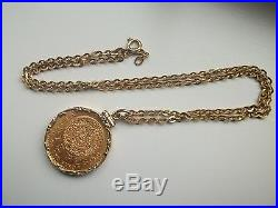 MEXICAN 20 PESOS 1959 Gold Coin with18kt Solid gold Bezel & Chain 28.7 grams