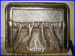 NEW BURBERRY Gold Leather Ziggy Zip-Around Check Coin Purse Bifold Wallet Italy