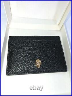 NWT Alexander McQueen Gold Skull Crystal Black Leather Card Case Holder