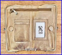 Nwt Women's Hobo Leather Double Frame Clutch Wallet, Lauren, Coin Metallic Gold
