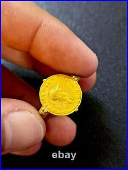 Old Ancient Greece Grrek Alexander Coin Genuine Solid GOLD 22k Ring