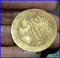 Old Kushan Vima Kadphises Siva bull Nandi holding trident Solid Gold 18K Coin