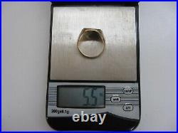 Older Vintage Solid 14K Gold Coin Design Ring Size 5.5 grams & 6 1/4