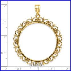 One 1 oz American Eagle Diamond-Cut Prong Set Coin Bezel with Ornate Border
