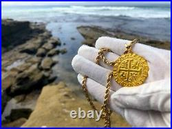PERU 1708 8 ESCUDOS 22kt SOLID GOLD COIN PENDANT JEWELRY PIRATE COINS NECKLACE