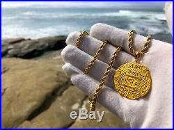 PERU 1708 8 ESCUDOS 22kt SOLID GOLD COIN PENDANT JEWELRY PIRATE NECKLACE COB