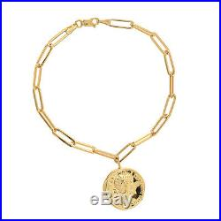 Paperclip Chain Bracelet 14K Solid Gold Women Minimalist Coin Charm Bracelet