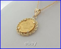 Pure Solid. 9999 24k Gold Coin NFL Super Bowl XXVI 14k Pendant 18 Necklace