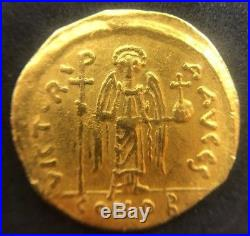 RARE Solid Gold Coin, MAURICE TIBERIUS, SOLIDUS, CONSTANTINOPLE, MS(63)