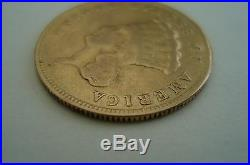 RARE US 3 DOLLAR GOLD COIN 1874 INDIAN PRINCESS HEAD very good condition