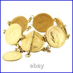 Rare 22k Solid Gold 7 Coins 1915-1925 Unique Bracelet Antique GEORGIVS VD. G