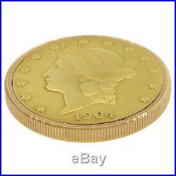 Rare Vintage Ebel $20 Solid Gold Liberty Coin Eagle 18k Gold 34mm Pocket Watch