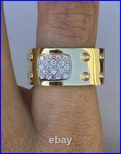 Roberto Coin Pois Moi 18k Yellow Gold Diamond Band Ring Large 7 Square Mint