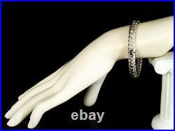 Roberto Coin Vintage Solid 18k White Gold Silk Basket Weave Woven Mesh Bracelet