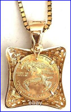 SALE -SOLID 14K YELLOW GOLD CHAIN With YEAR 2000 $5.00 AMERICAN GOLD EAGLE COIN