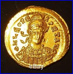 SOLIDUS LEO I. 457-474 AD. AV CONSTANTINOPLE ROMAN GOLD COIN LEON 1er