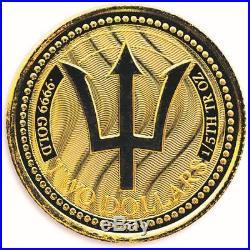 SPECIAL PRICE! 2017 1/5 oz. 9999 Gold Coin Barbados Trident BU #A450