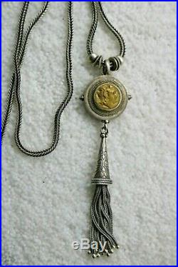 Savati 22K Solid Gold And sterling Silver Greek Coin Pendant Tassel Necklace