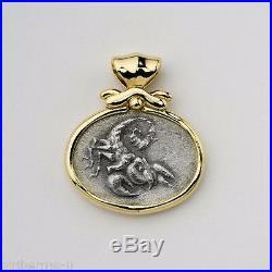 Scorpion Zodiac Pendant 14K Solid Gold & Silver Coin Charm Scorpio Astrology