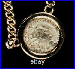 Solid 14Kt Gold 17 Chain with Bezel and Ancient Roman Silver Coin 300-400 A. D