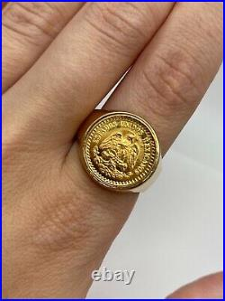 Solid 14k Gold Coin Ring with 22k Gold Peso Coin