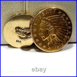 Solid 14k Yellow Gold & 1912 $2.50 Indian Head Gold Coin Link Type Cufflinks